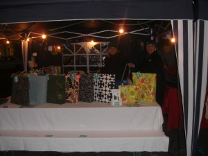 Anja (with her mom, Marlies) selling very unique handbags and accessoiries