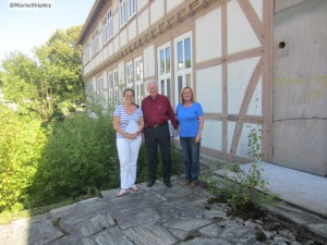 Ms Jacobsen in front of the Mountain Lodge, Oberursel